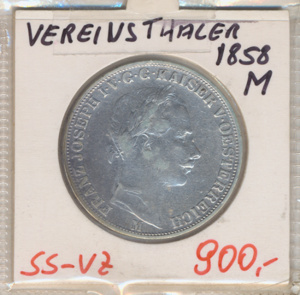 1 Vereins-Taler 1 1/2 Gulden 1858 M Silber Franz Joseph I