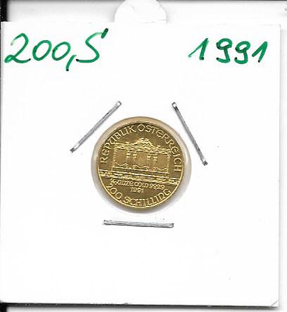 1991 Philharmoniker 1/10 Unze 200 Schilling ATS 3,11 Gramm