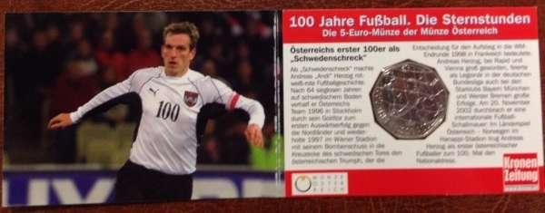 5 Euro Silber 2004 100 Jahre Fußball in Österreich Herzog ANK Nr.4c