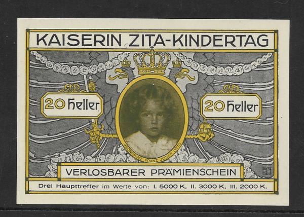 Kaiserin Zita Kindertag 20 Heller Prämienschein 1916