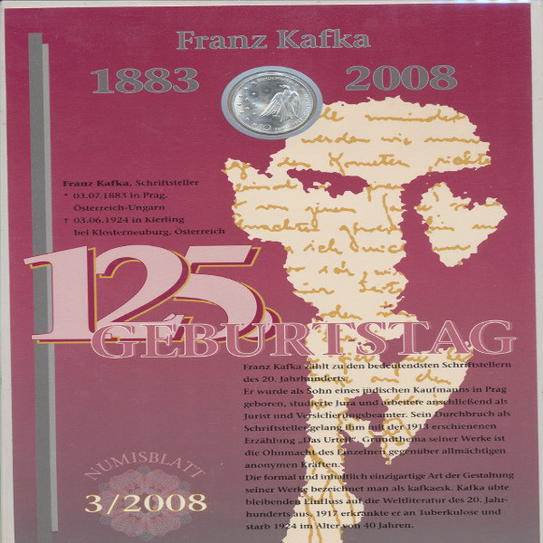 10 Euro Deutschland Numisblatt 3/2008 Kafka