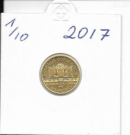 2017 Philharmoniker 1/10 Unze 10 € Euro 3,11 Gramm