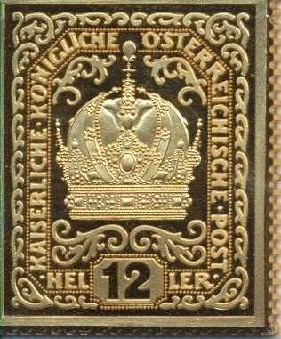 Collection Magna Austria Silber K&K 12 Heller Kaiserkrone 24 Karat Vergoldet