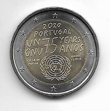 2 Euro Portugal 2020 75 Jahre Vereinte Nationen UNO