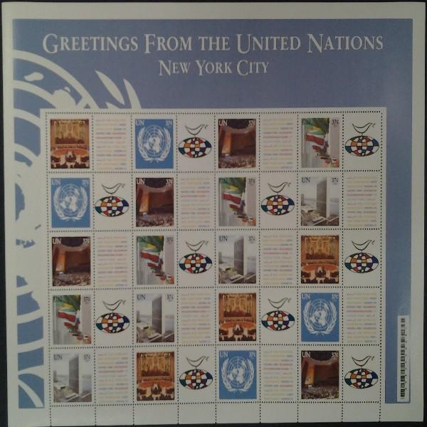 UNO New York -GRUSSMARKEN 37 Cent Bogen 2003**(4)