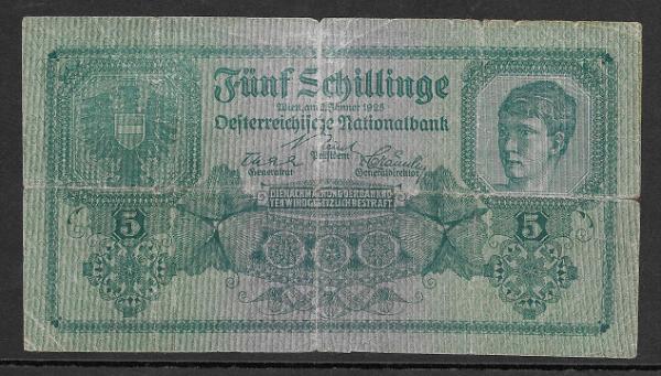 5 Schilling 2 Jänner 1925 Ank.Nr.211 Pick 88 Nr. 1032 392083