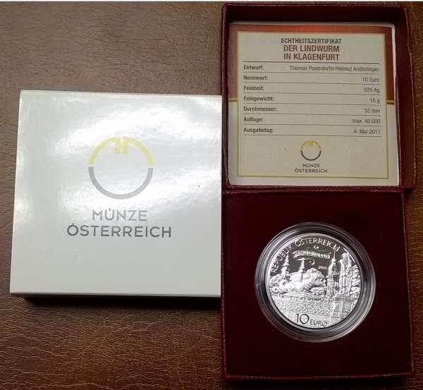 10 Euro Silber 2011 Der Lindwurm in Klagenfurt PP ANK Nr. 19
