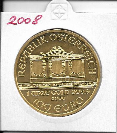 2008 Philharmoniker 1unze 100 Euro 31,1 Gramm
