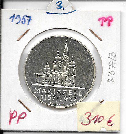 25 Schilling 1957 PP Mariazell ANK Nr. 03