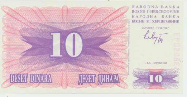 Bosnien Herzogowina- 10 Dinara 1992 UNC - Pick Nr.10