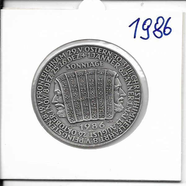 1986 Kalendermedaille Jahresregent Bronze versilbert