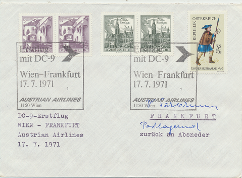 Erstflug DC-9 Wien-Frankfurt 17.7.1971