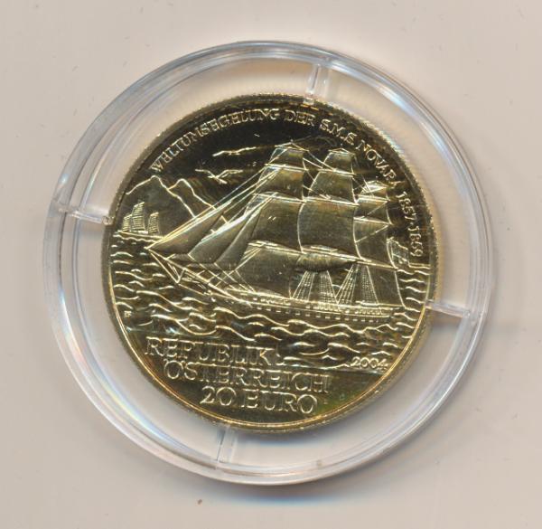 20 EURO Silber 2004 S.M.S Novara 24 Karat Vergoldet
