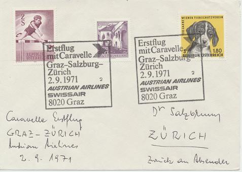 Caravelle Erstflug Aua Graz - Salzburg - Zürich 2.9.1971