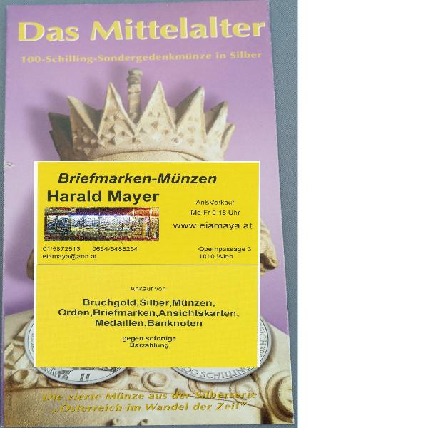Das Mittelalter 2001 100 Schilling Silber - nur Flyer Folder