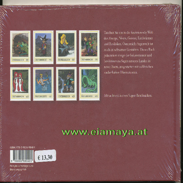 Briefmarkenbuch Sagenhaftes Österreich mit 8 exklusive Marken