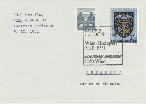 Erstflug Aua DC-9 Wien - Budapest 3.10.1971