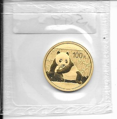 China 2015 Gold 1/4 oz Panda 100 Yuan