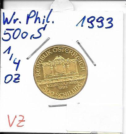 1993 Philharmoniker 1/4 Unze 500 Schilling ATS 7,78 Gramm