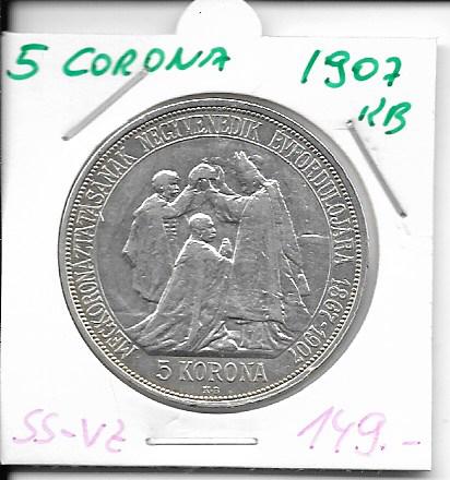 5 Korona 1907 KB zum 40 jährigen Regierungsjubiläum