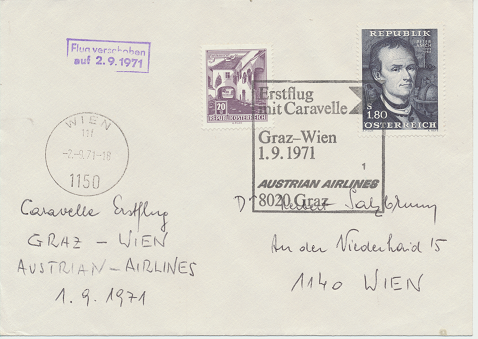 Caravelle Erstflug Aua Wien - Graz 1.9.1971 Flug verschoben auf 2.9.