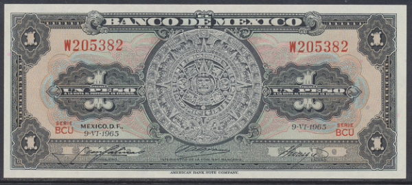 Mexiko- 1 Peso 1965 UNC - Pick 59