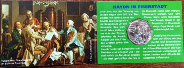 5 Euro Silber 2009 Haydn Grün Eisenstadt ANK Nr.14