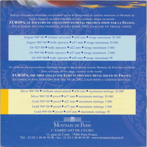 1/4 Euro Frankreich 2002 Silber Blister