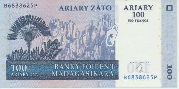 Madagaskar- 100 Ariary 500 Francs 2004 UNC - Pick 86