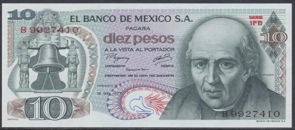 Mexiko- 10 Pesos 1977 UNC - Pick 63