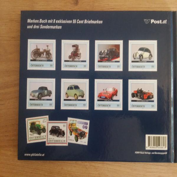 Briefmarkenbuch Österreichische Automobilgeschichte inkl.8 Österr.Autos auf Briefmarken