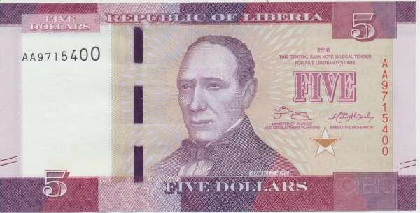 Liberien-Liberia - 5 Dollars 2016 UNC - Pick 31a