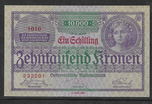 1 Schilling 10000 Kronen 2.1.1924 Pick 87 Ank 210 Nr 1010 232001