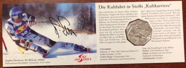 5 Euro Silber 2005 Skisport Kleiner Folder Stefan Eberharter ANK Nr.5c