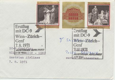 Erstflug DC-9 Wien - Zürich - Genf 7.8.1971