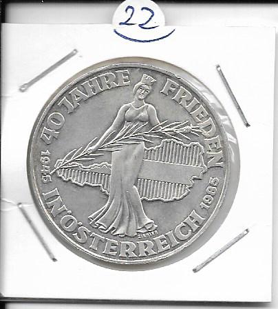 ANK Nr. 22 40 Jahre Frieden in Österreich 1985 500 Schilling Silber Normal