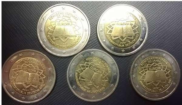 2 Euro Deutschland 2007 Römische Verträge alle 5 Prägestätten A,D,F,G,J