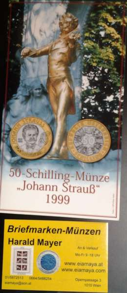 50 Schilling 1999 Johan Strauß Blister Hgh Bimetall
