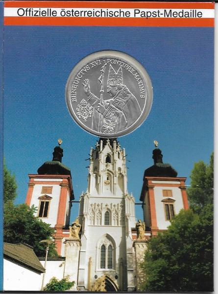 Benedikt XVI Offizielle Silbermedaille Papstbesuch in Österreich 2007 Maria Zell
