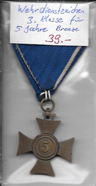 Wehrdienstzeichen 3.Klasse für 5 Jahre Bronze