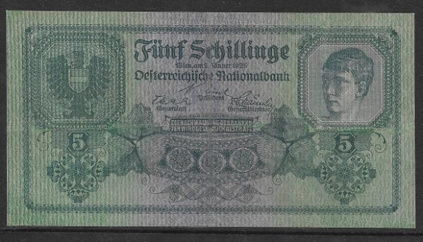 5 Schilling 2 Jänner 1925 Ank.Nr.211 Pick 88 Nr. 1035 054957