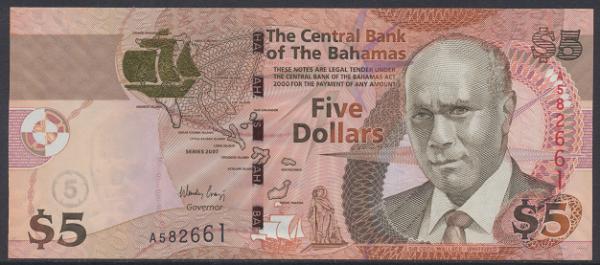 Bahamas -5 Dollars 2007 UNC - Pick 72