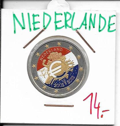 2 Euro Niederlande 2012 10 Jahre Euro Coloriert