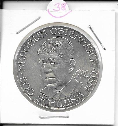 ANK Nr. 38 Oskar Kokoschka 1990 500 Schilling Silber Normal