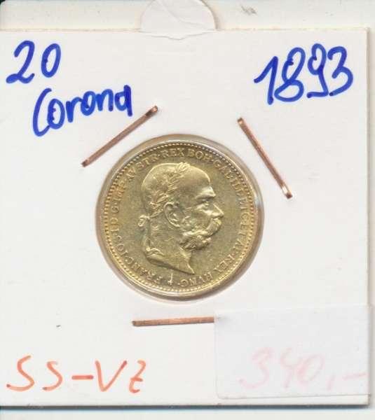 20 Kronen 1893 Franz Joseph I Gold