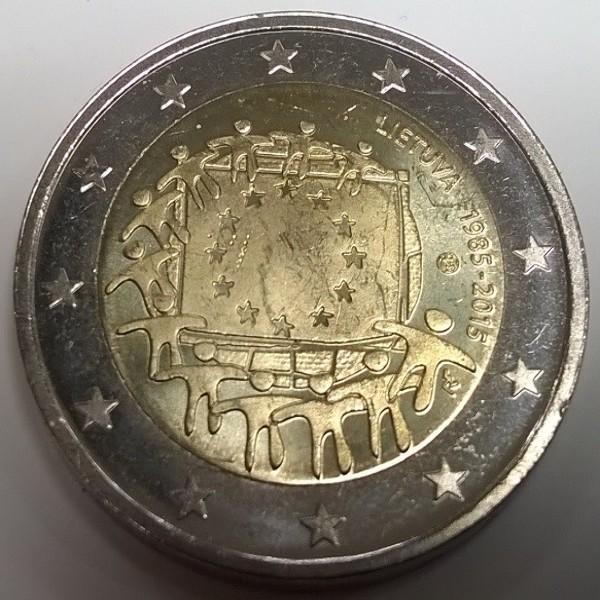 2 Euro Litauen 2015 30 Jahre Europa Flagge