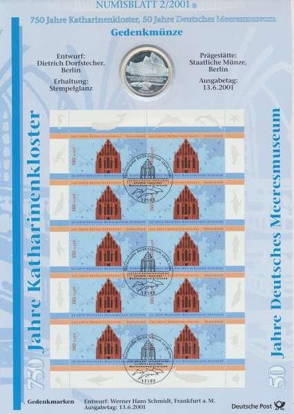 """Numisblatt Deutschland 2001/2 """"750 Jahre Katharinenkloster 50 Jahre D. Meeresmuseum"""" mit 10DM Silber"""